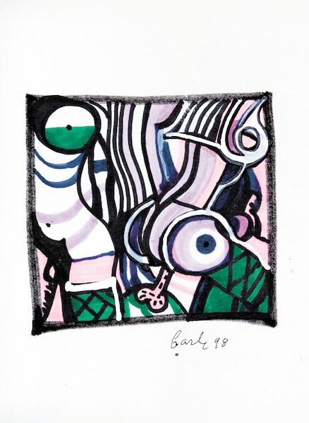 <b><i>Sans titre</b></i><br /> <b>1998 - Feutre, 14''x17''</b><br /> Empreintes d'une charge érotique forte, les œuvres de Gilles Carle témoignent, autant dans leur forme que dans leur contenu, du regard sensuel qu'il posait sur ce qui l'entourait.
