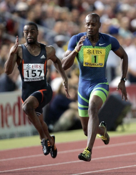 Powell of Jamaica wins men's 100m race at Zurich Golden League Meeting in Switzerland