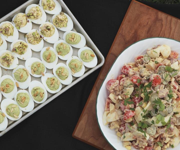 Oeufs farcis et salade piémontaise