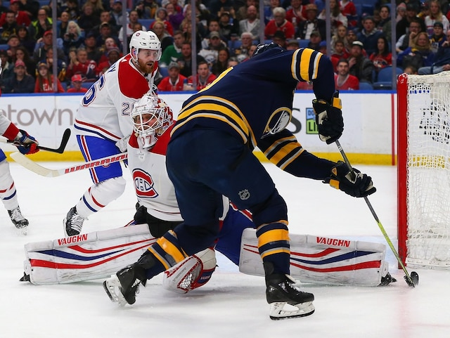 BUFFALO, NY - MARCH 23: Antti Niemi #37 of the Montreal Canadiens makes the save against Ryan O'Reilly #90 of the Buffalo Sabres during the second period at KeyBank Center on March 23, 2018 in Buffalo, New York.   Kevin Hoffman/Getty Images/AFP == FOR NEWSPAPERS, INTERNET, TELCOS & TELEVISION USE ONLY ==
