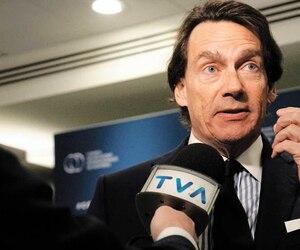 Le PDG de Québecor, Pierre Karl Péladeau, photographié ici à Montréal lors d'une causerie, croit toujours à la relance de la compagnie verte Téo Taxi.