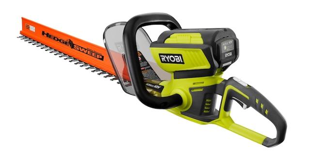 Le taille-haie modèle nºRY40610 possède des lames à double action de 10 po de longueur et peut couper des branches jusqu'à un diamètre de 16,9 mm.  Référence: Fabricant : Ryobi (ryobitools.com) – Offert chez Home Depot à partir de 190$ jusqu'à 440$.