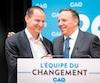 Le chef François Legault a accueilli l'économiste Éric Girard (à gauche) dans la Coalition avenir Québec, hier, à Boisbriand.