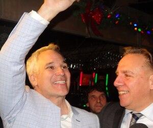 Le chef de la Coalition Avenir Québec, François Legault, était a Victoriaville pour souligner la victoire de son candidat dans Arthabaska, Éric Lefebvre.