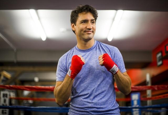 Le chef du parti Libéral Justin Trudeau au «Paul Brown Boxfit boxing gym», à Toronto, jeudi matin.