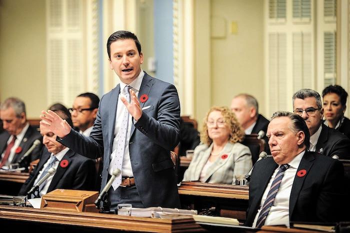 Le ministre de l'Immigration Simon Jolin-Barrette, jeudi dernier, lors de la période des questions à l'Assemblée nationale.