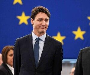 Le premier ministre Justin Trudeau avec le président du Parlement européen Antonio Tajani.