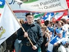 Le sergent Lachapelle, de la Milice Patriotique Québécoise, était à l'avant de la marche.