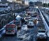 L'accident a créé un énorme bouchon de circulation sur l'autoroute 40, dans l'arrondissement Anjou, à Montréal.