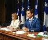 Les députés de la Coalition avenir Québec (CAQ) Lise Lavallée et Simon Jolin-Barrette ont dévoilé le cadre réglementaire de la CAQ sur le cannabis.