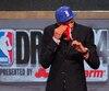 Isaiah Austin, ému, lors du repêchage de la NBA en 2014.