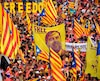 Des manifestants brandissent une bannière demandant la libération d'une figure de proue du mouvement indépendantiste catalan, Oriol Junqueras, lors d'une manifestation le 11 septembre dernier à Barcelone.