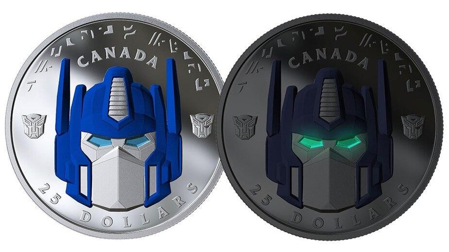 Des pièces de monnaie aux couleurs d'Optimus Prime