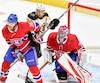 Le jeune défenseur du Canadien Bret Lernout, qu'on voit devant le gardien Al Montoya, a fait sentir sa présence avec de bonnes mises en échec face aux Bruins, lundi soir à Québec.
