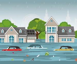Heavy rain drops and city flood in modern village.