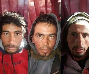 Cette combinaison de photos montre Rachid Afatti, Ouziad Younes et Ejjoud Abdessamad, trois des suspects dans le meurtre de deux touristes scandinaves, survenu lundi.