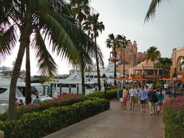 Une rue de Paradise Island,  avec, en arrière-plan, une  partie de l'Atlantis Resort.