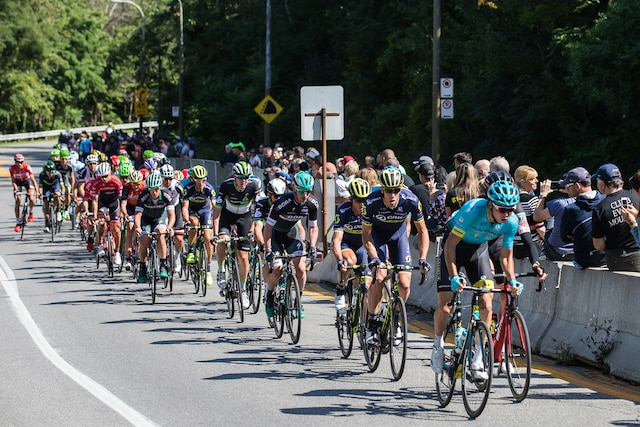 Le peloton du Grand Prix Cycliste de Montréal monte la voie Camillien-Houde, dimanche le 10 septembre 2017. DARIO AYALA/AGENCE QMI