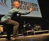 L'humoriste François Massicotte animait le dévoilement de la programmation 5e anniversaire de Diffusion Saguenay, hier soir, au Théâtre Banque Nationale.