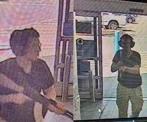 Le tireur s'est dirigé dans le Walmart après avoir fait plusieurs victimes dans le stationnement du magasin, comme le montrent ces images de caméras de surveillance.