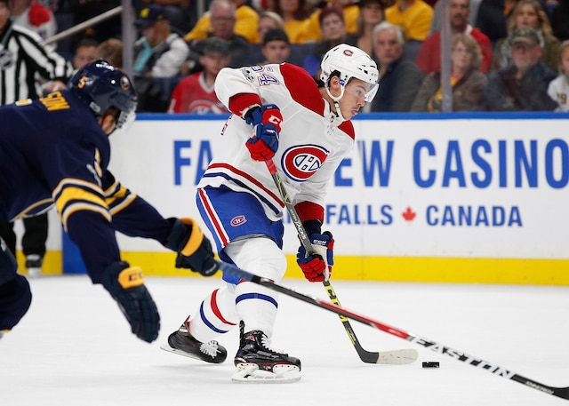 BUFFALO, NY - OCTOBER 5: Charles Hudon #54 of the Montreal Canadiens takes a shot during the first period against the Buffalo Sabres at the KeyBank Center on October 5, 2017 in Buffalo, New York.   Kevin Hoffman/Getty Images/AFP == FOR NEWSPAPERS, INTERNET, TELCOS & TELEVISION USE ONLY ==