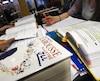 Francais, examen de francais, école, étude, dictionnaire, élève, étudiant