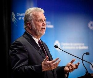 Le premier ministre du Québec, Philippe Couillard, a prononcé un discours, lundi, devant la Chambre de commerce et d'industrie de Québec, au Château Laurier.