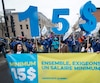 De nombreuses manifestations organisées par les syndicats et des organismes de lutte contre la pauvreté ont eu lieu en 2016 pour tenter de convaincre le gouvernement d'augmenter le salaire minimum à 15 $/h au Québec. Il sera plutôt haussé de 50 cents.