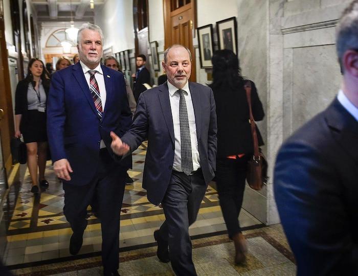 Le premier ministre Philippe Couillard et son dorénavant ex-chef de cabinet, Jean-Louis Dufresne.