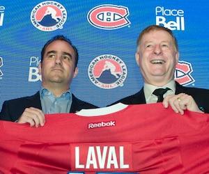 Marc Bergevin, Geoff Molson, Marc Demers et Vincent Lucier étaient réunis lundi matin afin d'annoncer le déménagement du club-école à Laval dès l'an prochain.