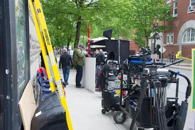 Plateau de tournage de BOOMERANG   Montréal, Québec, Canada.  Le mercredi 29 mai  2019  PHOTO: MARTIN ALARIE / JOURNAL DE MONTREAL /  AGENCE QMI