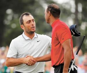 Francesco Molinari s'est dirigé tout de go vers Tiger Woods pour le féliciter au terme de la dernière ronde.