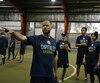 L'entraîneur des Capitales de Québec Karl Gélinas dirige un groupe de lanceurs qu'il trouve franchement impressionnant.