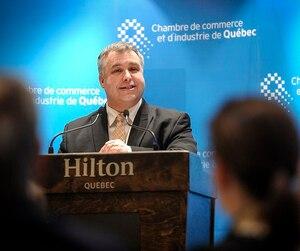Sébastien Proulx en était à sa première allocution à titre de conférencier-invité de la Chambre de commerce et d'industrie de Québec (CCIQ) depuis sa nomination en tant que ministre responsable de la Capitale-Nationale.