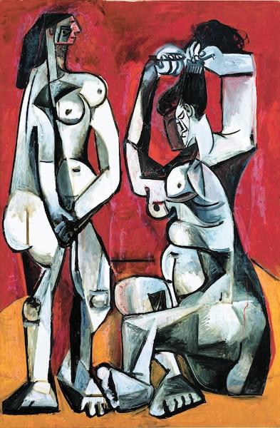 <b><i>Femmes à la toilette</i>, Cannes</b><br /> <b>4 janvier 1956 - Huile sur toile, 195,5cm x 130cm</b><br /> Une plasticité dramatique qui évoque la reconfiguration des corps par des artistes africains et océaniens. Tableau de Pablo Picasso.