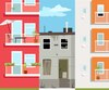 Old derelict house stuck between two new modern apartment building, EPS 8 vector illustration