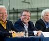 Gaétan Frigon, Joël Gauthier et Mario Bertrand lors de la conférence de presse au cours de laquelle le Groupe Hexagone confirmait les détails de l'acquisition de Louisbourg SBC, Gastier, Géodex, Ciments Lavallée et Houle H2O.