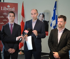 L'homme d'affaires Adam Veilleux, l'expert en économie Jean-Yves Duclos et le restaurateur Antoine Bujold, respectivement candidats pour le Parti libéral du Canada (PLC) dans les circonscriptions de Beauce, Québec et Beauport–Limoilou.