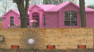 Il peint toute sa maison en rose