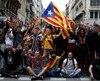 Manifestants indépendantistes à Barcelone, 18 octobre, 2019.