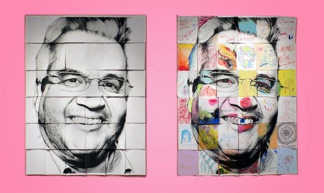 Super Duper Mighty Jumbo Coderre<br /> Melanie Matthew (Montréal)<br /> Œuvre interactive. Le visage du maire de Montréal divisé en sections et 375 feuilles de papier – pour le 375e de Montréal – que le visiteur s'amuse à crayonner. <br /> À la galerie du Collège Dawson