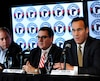 Jacques Tanguay, Gilles Courteau et Pierre Dion, lors de l'annonce de la vente des Remparts la semaine dernière.