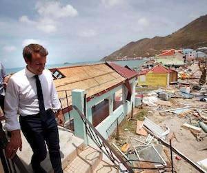 Emmanuel Macron lors de son passage à St-Martin.