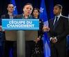 Les députés François Paradis, Jean-François Roberge et Geneviève Guilbault accompagnent le chef de la Coalition avenir Québec, François Legault, et le Dr Lionel Carmant, qui songe fortement à se présenter aux prochaines élections.