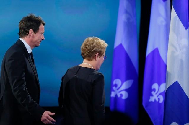 Avec Pauline Marois qui venait tout juste de livrer son discours de défaite lors du dernier scrutin provincial.