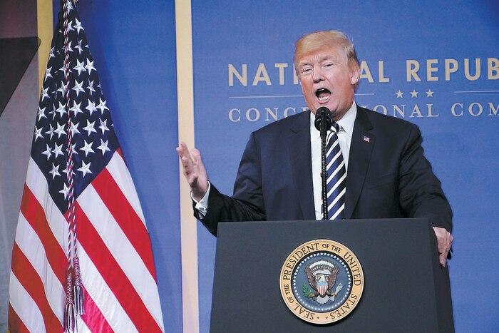 Le président Donald Trump a pris la parole hier lors d'un rassemblement des membres du Congrès républicain à Washington.