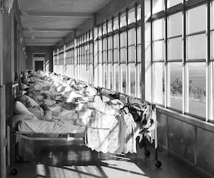 À une certaine époque, dans les années 1940 et 1950, les sanatoriums construits par le gouvernement du Québec étaient remplis de patients atteints de la tuberculose. À Gaspé, on les cordait littéralement devant les fenêtres pour qu'ils puissent observer le paysage.