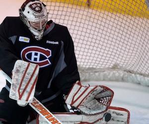 Raphaël Girard a eu l'occasion de repousser les tirs des joueurs du Canadien lundi, lors de l'entraînement.