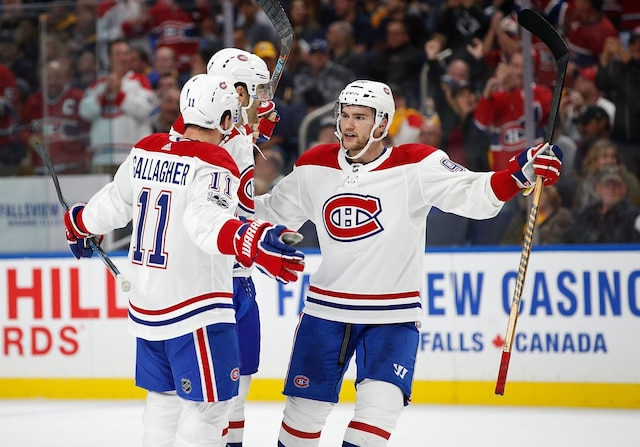 BUFFALO, NY - OCTOBER 5: Jonathan Drouin #92 of the Montreal Canadiens celebrates with Brendan Gallagher #11 and Max Pacioretty #67 who score a goal during the first period against the Buffalo Sabres at the KeyBank Center on October 5, 2017 in Buffalo, New York.   Kevin Hoffman/Getty Images/AFP == FOR NEWSPAPERS, INTERNET, TELCOS & TELEVISION USE ONLY ==