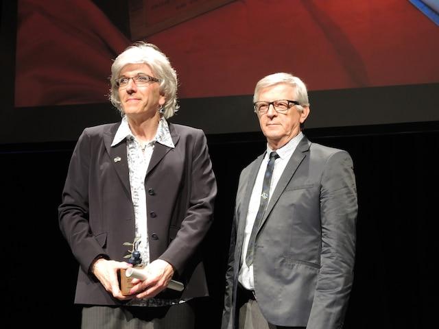 L'historien et pamphlétaire Russel-Aurore Bouchard (à gauche) est un des dix nouveaux membres de l'Ordre du Bleuet 2014.